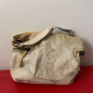 Authentic Coach Ivory Leather & Fabric Handbag